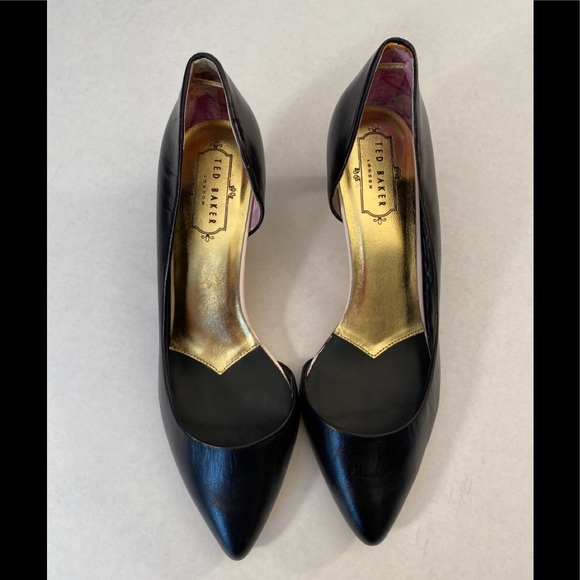 Ted Baker black and gold kitten heels